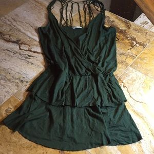 Topshop mini in hunter green with strappy top